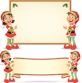 Two cute Christmas Elves standing in front of a sign and holding a banner, isolated on white. EPS 8, fully editable, grouped and labeled in layers.