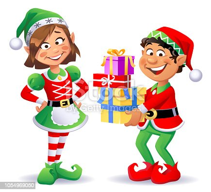 Vector illustration of two cheerful Christmas elves wearing santa hats and pantyhoses. The girl is having her hands on her hips, and the boy is carrying Christmas presents. They are looking at the camera.