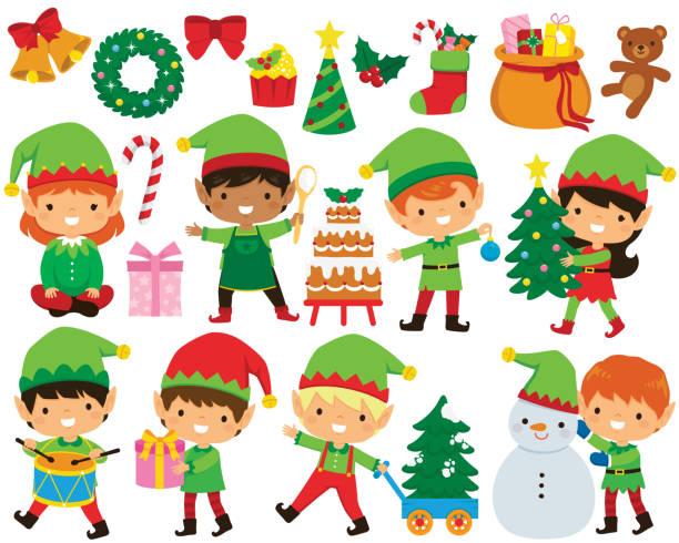 Christmas elves clipart set vector art illustration