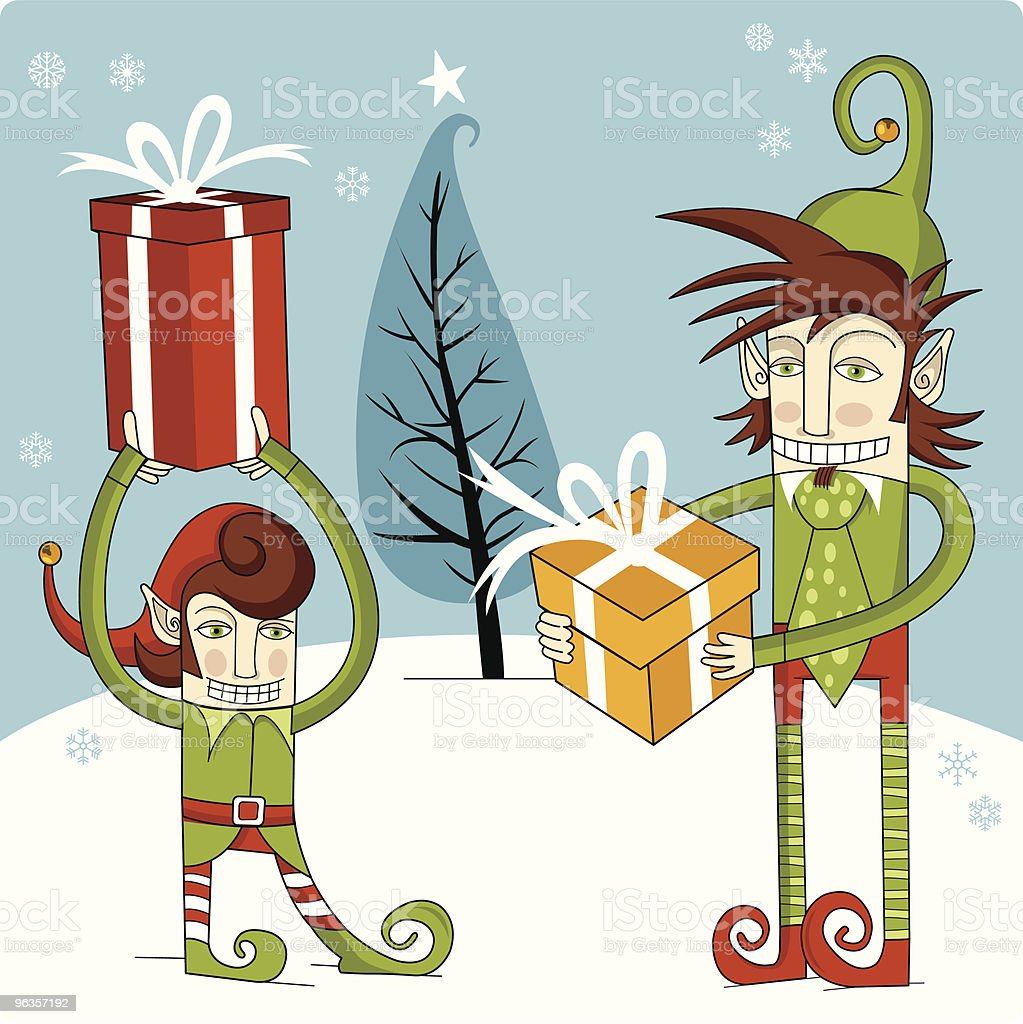 Christmas Elves Gifts royalty-free christmas elves gifts stock vector art & more images of beard