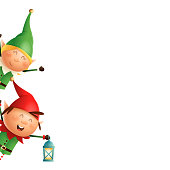 Christmas Elves girl and boy peeking on left side - vector illustration isolated on transparent background