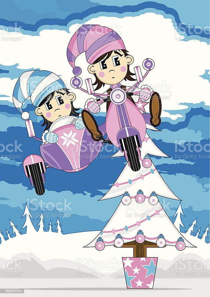 Anime Weihnachten Bilder.Weihnachten Elfen Jumping Baum Im Rollstuhl Stock Vektor Art Und