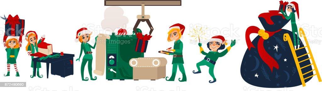 Lutins de Noël faisant présente dans l'atelier de Santa - Illustration vectorielle