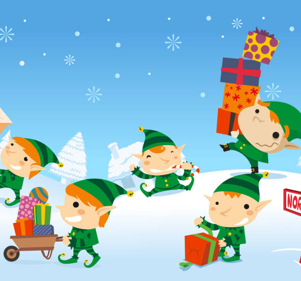 Christmas Elves playing with snow and presents design Christmas Elves playing with their presents on the snow in the North Pole. With Snowy pines and snow flakes vector illustration.   north pole stock illustrations
