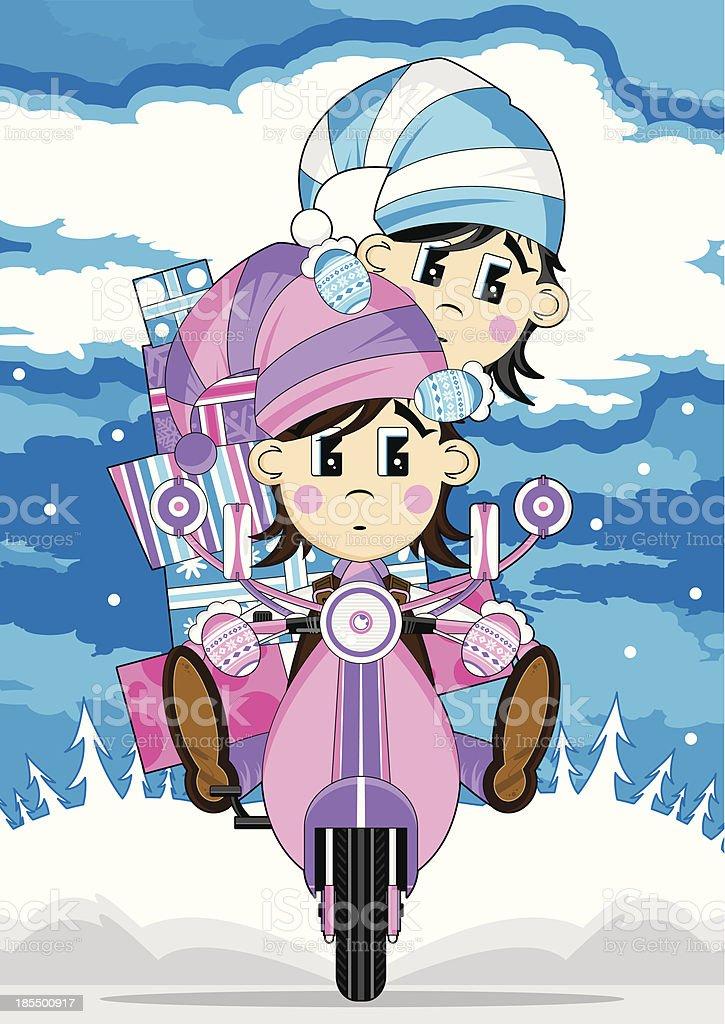 Anime Weihnachten Bilder.Weihnachten Elfen Riding Retroscooter Stock Vektor Art Und Mehr
