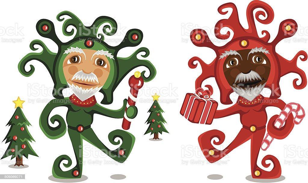 Christmas Elves (male) royalty-free stock vector art