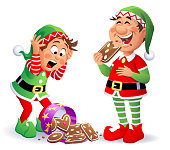 Christmas Elves With Gingerbread Cookies