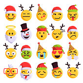 Christmas emoji funny and cute holiday set. Santa Claus, snowman festive emoji collection, Vector flat style cartoon illustration isolated on white background