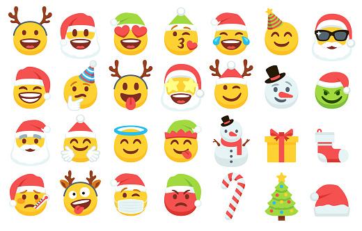 Christmas emoji icons collection