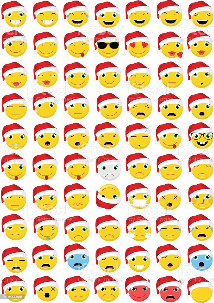 Christmas Emoticons / Emoji Vector Set vector art illustration