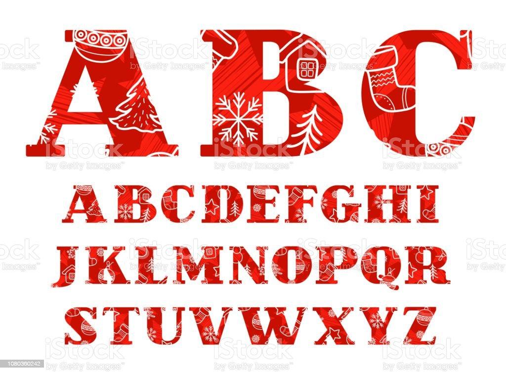 Schriftart Weihnachten.Englische Schriftart Weihnachten Winter Rot Vektor Stock Vektor Art