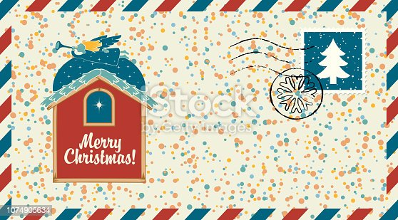 Vector envelope on the theme of Merry Christmas with postage stamp and postmark in retro style. Angel with a trumpet flying over the roof of the house and the Christmas star