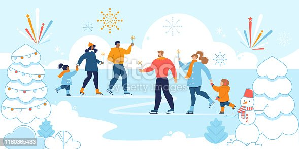 Christmas Eve, Happy New Year Family Entertainment, Winter Vacations Trendy Flat Vector Concept. Multinational Parents with Children, Having Fun Outdoor, Ice-Skating at Lake in Park Illustration