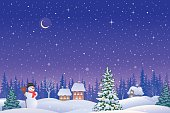 Vector illustration of a snowy Christmas eve village and a cute snowman.