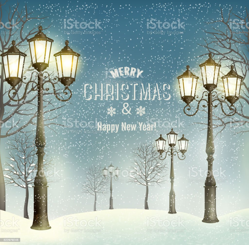 Christmas evening landscape with vintage lampposts. Vector. vector art illustration
