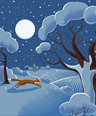 Christmas festive snow scene in traditional cross hatch style. EPS 10 file, CS% version in zip