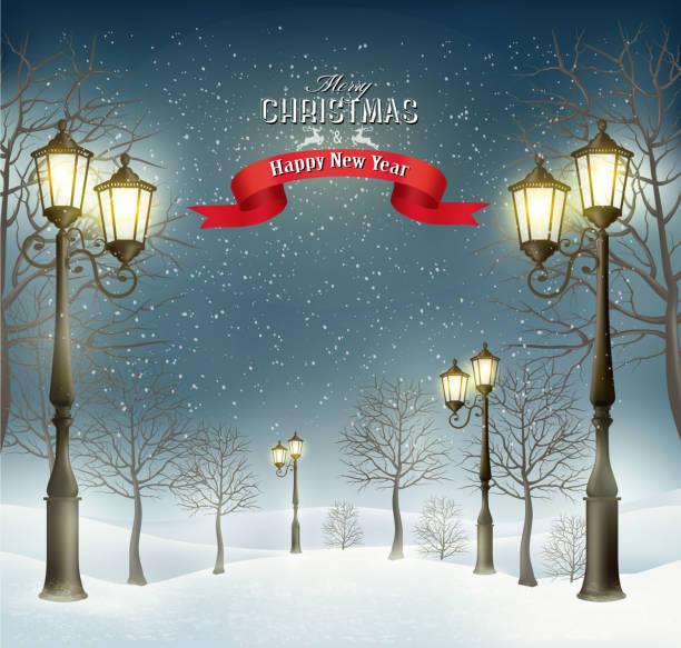 abend winter weihnachten landschaft mit weiße kuhmotive an den laternenpfählen. vektor - - citylight stock-grafiken, -clipart, -cartoons und -symbole