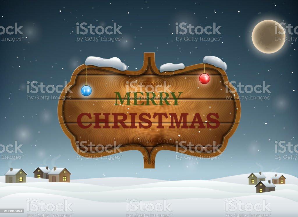 Weihnachts-Abend mit Holz-Board. Lizenzfreies weihnachtsabend mit holzboard stock vektor art und mehr bilder von 2015