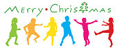 colorful silhouette kids jumping with joy at the thought of Christmas coming