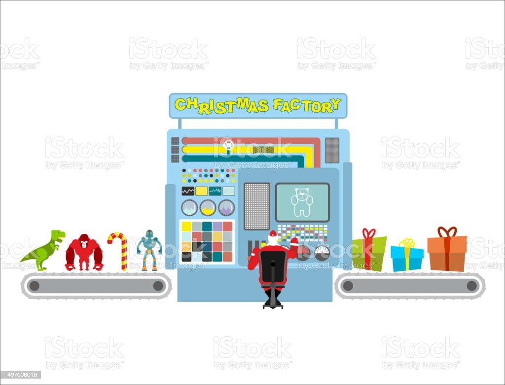 Usine de Noël. Ligne automatique à la production de cadeaux. - Illustration vectorielle