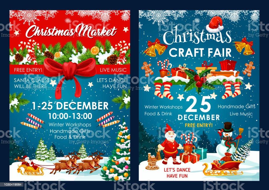 Affiches de vecteur pour le salon décoration Noël - Illustration vectorielle