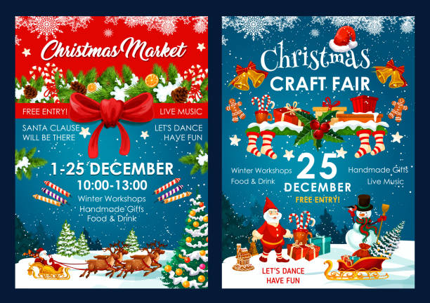 Christmas fair decoration vector posters Christmas fair poster design of Santa and snowman in sleigh with New Year gifts bag. Vector Christmas winter holiday event invitation of holly ornament on blue snow and red ribbon background christmas stocking stock illustrations