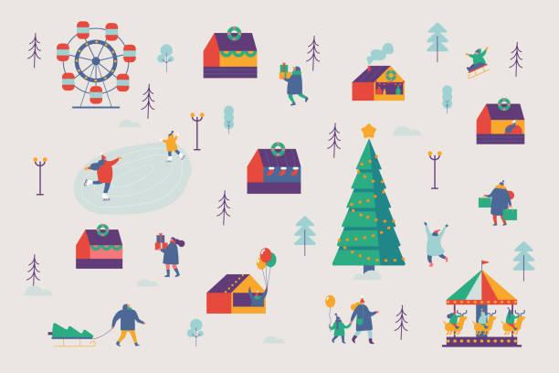 christmas fair abbildung. - weihnachtsmarkt stock-grafiken, -clipart, -cartoons und -symbole