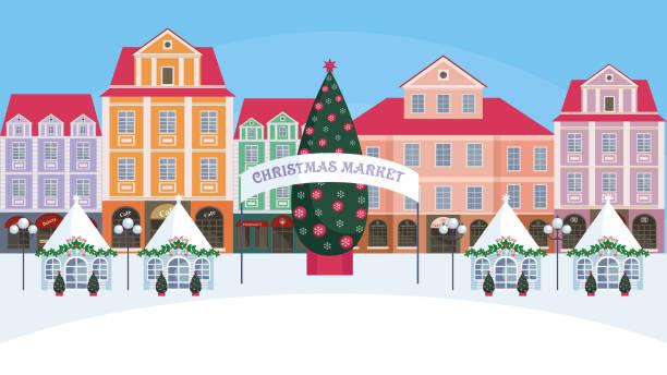 weihnachtsmarkt in der altstadt - weihnachtsmarkt stock-grafiken, -clipart, -cartoons und -symbole