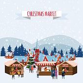 Christmas Fair, Market on town Anthropomorphic Set of animals