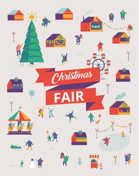 christmas fair vektor poster - weihnachtsmarkt stock-grafiken, -clipart, -cartoons und -symbole