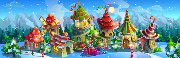Christmas fairy tale village in the winter. Christmas fairy tale village in the winter. Colorful houses with a christmas tree and gift boxes. Big vector panorama. village stock illustrations
