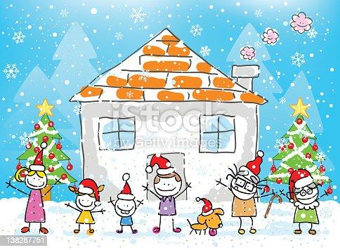 weihnachten familie und home comic stock vektor art und. Black Bedroom Furniture Sets. Home Design Ideas
