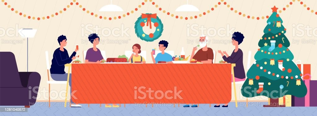 Christmas family dinner. Holiday living room interior, traditional eating. Seniors, children sitting at festive table vector illustration - arte vettoriale royalty-free di Adolescente