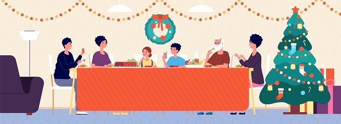 Christmas family dinner. Holiday living room interior, traditional eating. Seniors, children sitting at festive table vector illustration