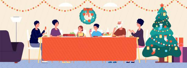 illustrazioni stock, clip art, cartoni animati e icone di tendenza di christmas family dinner. holiday living room interior, traditional eating. seniors, children sitting at festive table vector illustration - cena natale