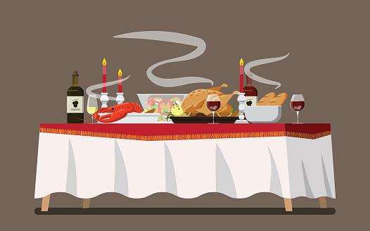 Christmas Family Dinner Table  ,Vector illustration