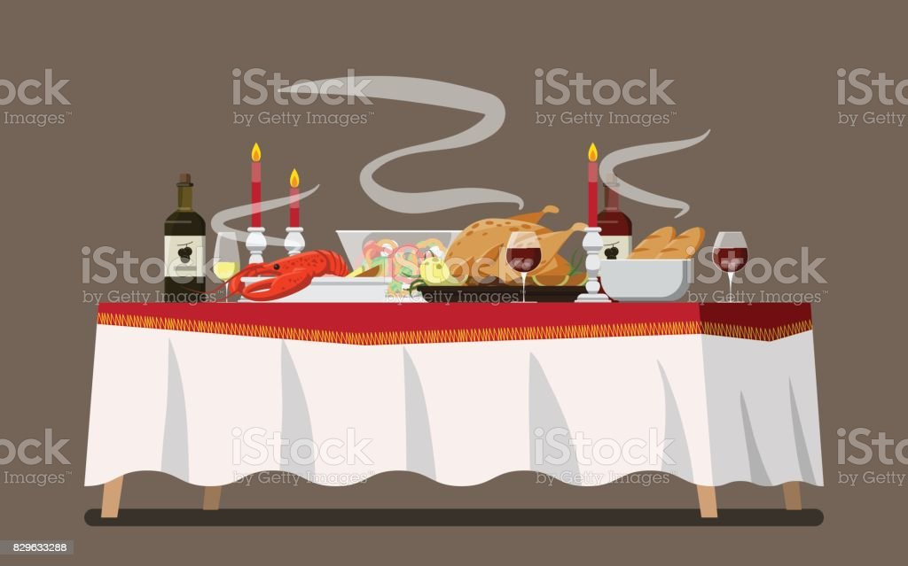 Christmas Family Dinner Table  ,Vector illustration vector art illustration