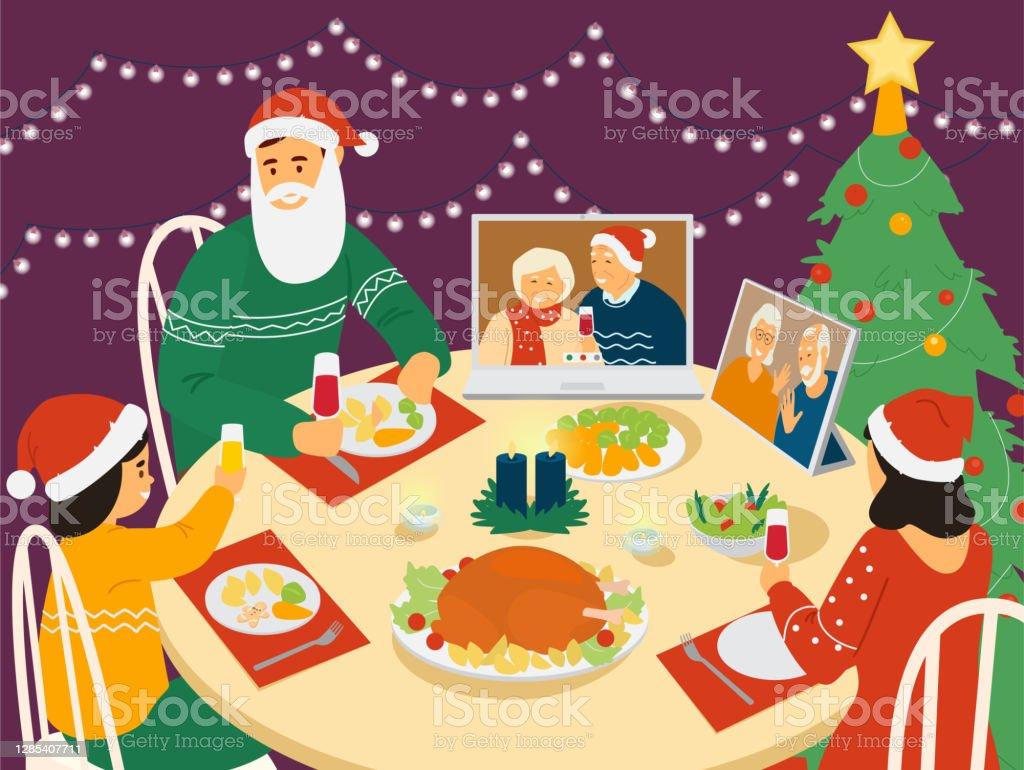 Cena di Natale in famiglia. - arte vettoriale royalty-free di Adulto