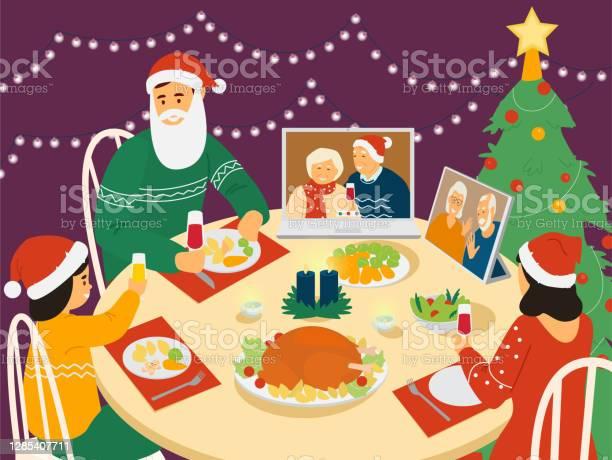 Cena Di Natale In Famiglia - Immagini vettoriali stock e altre immagini di Adulto