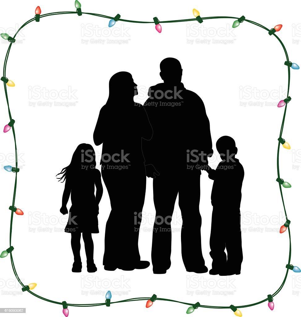 Christmas Family Of Four vector art illustration