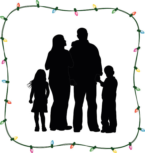 Christmas Family Of Four vector art illustration