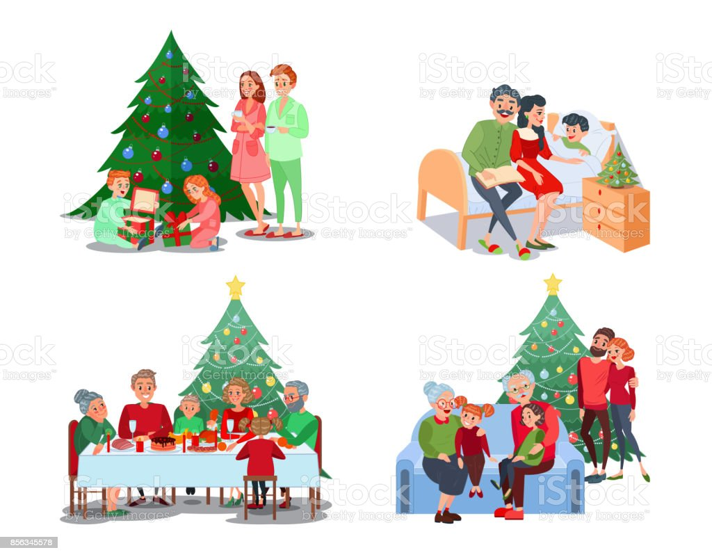 Escenas familiares de la Navidad. Los niños abren regalos - ilustración de arte vectorial