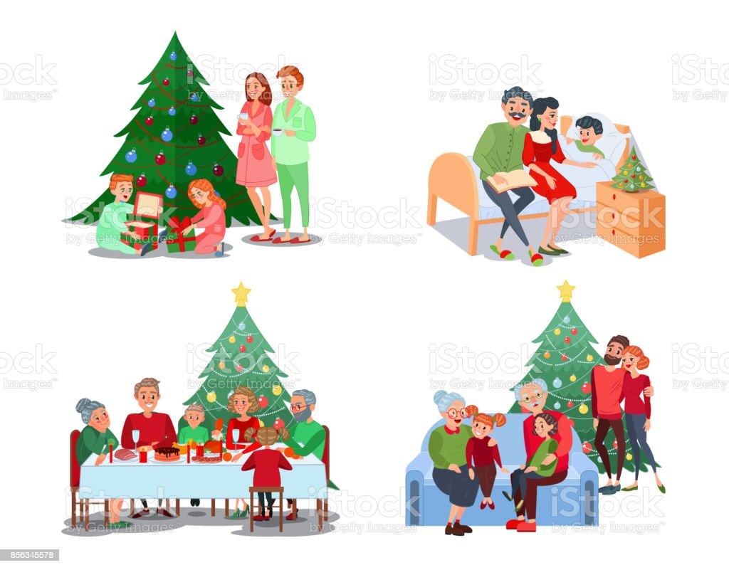Christmas Family Scenes. Children Open Presents vector art illustration