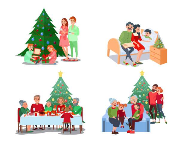 christmas family scenes. children open presents - family dinner stock illustrations