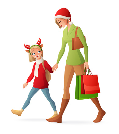 Christmas family shopping. Mother and daughter walking together. Isolated vector illustration.