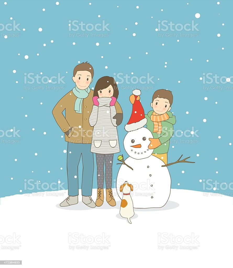 Christmas Family with dog and snowman royalty-free christmas family with dog and snowman stock vector art & more images of beautiful people
