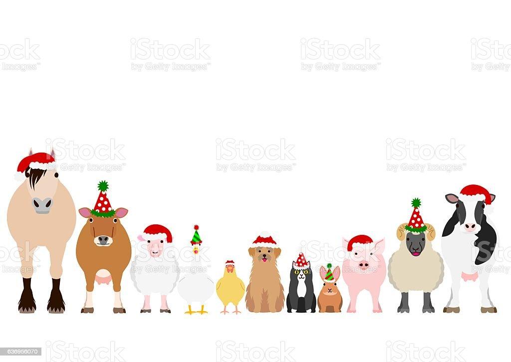 Christmas farm animals border set - Illustration vectorielle