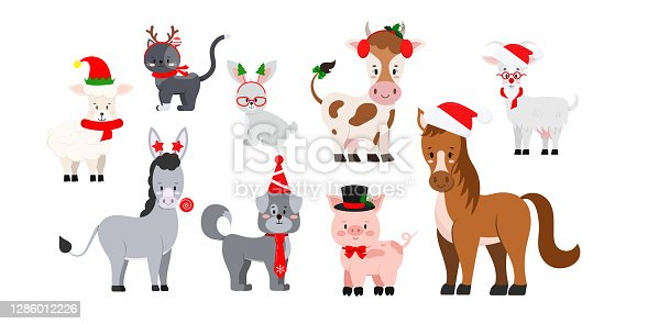 istock Christmas farm livestock animals set isolated on white background. 1286012226
