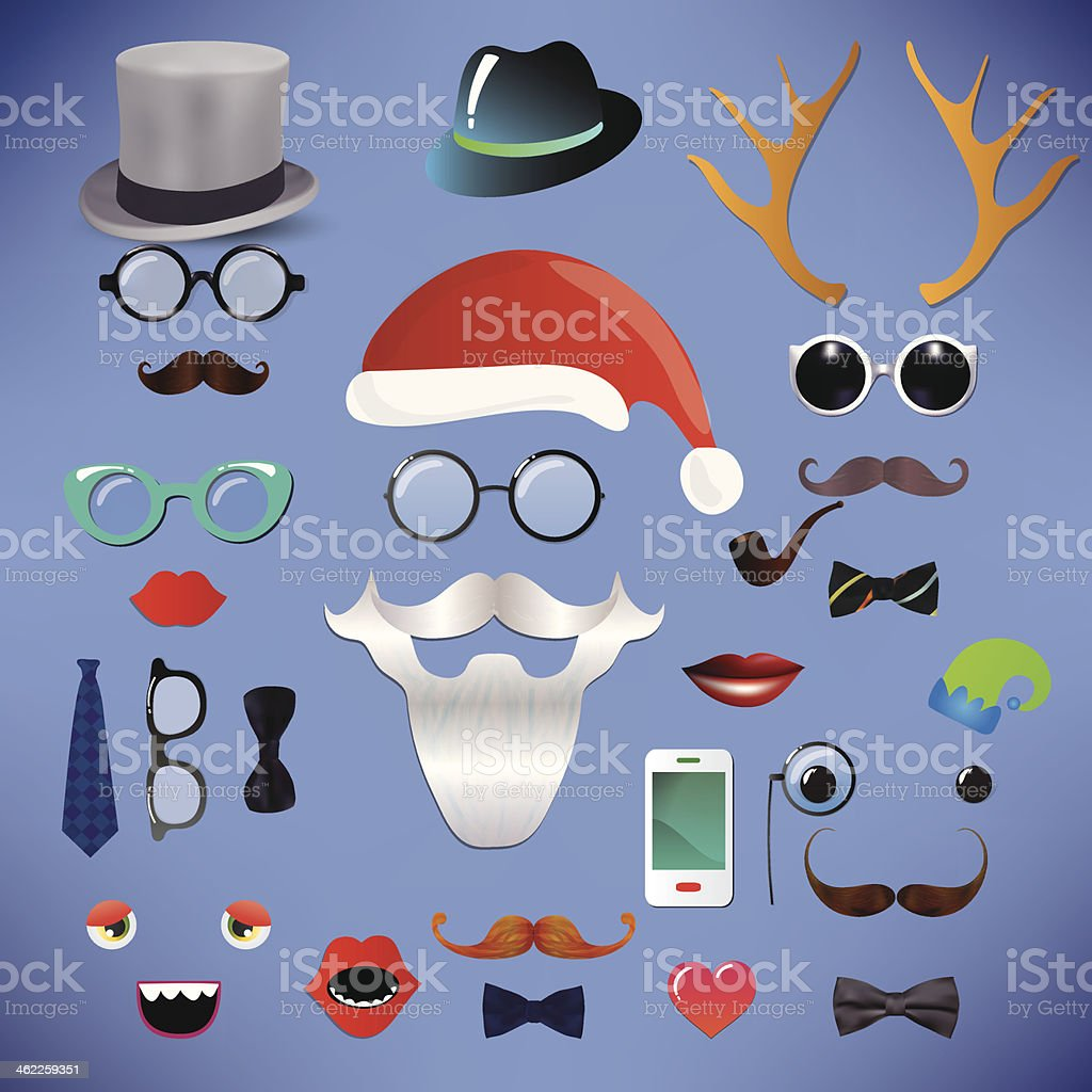 Christmas fashion silhouette set hipster style vector art illustration