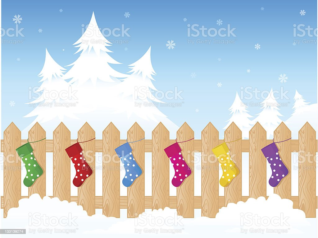 Christmas fence royalty-free stock vector art